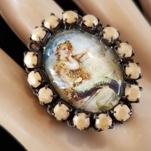 Repurposed Vintage Mermaid Cabachon Ring NWT